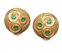 18CT GOLD CELTIC TRISKELE EMERALD EARRINGS at Ross's Jewellery Auctions