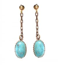 9CT GOLD TURQUOISE DROP EARRINGS at Ross's Jewellery Auctions