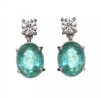 18CT WHITE GOLD EMERALD AND DIAMOND EARRINGS at Ross's Jewellery Auctions