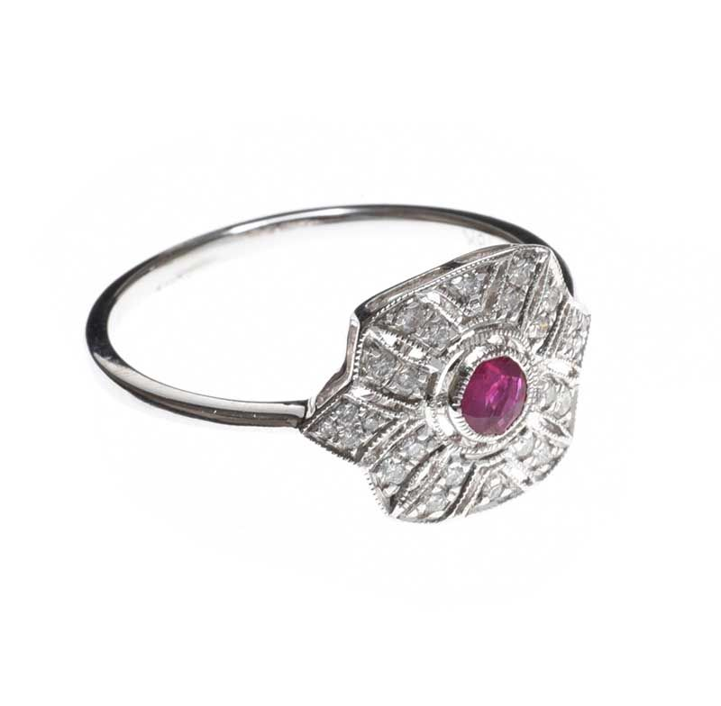 18CT WHITE GOLD RUBY AND DIAMOND RING at Ross's Online Art Auctions