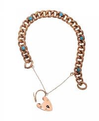 EDWARDIAN 9CT ROSE GOLD TURQUOISE PADLOCK BRACELET at Ross's Jewellery Auctions
