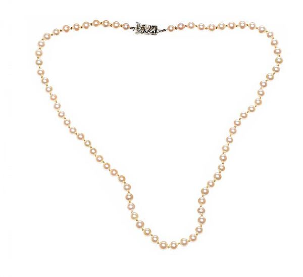STRAND OF MIKIMOTO PEARLS WITH SILVER CLASP at Ross's Online Art Auctions