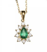 18CT GOLD EMERALD AND DIAMOND NECKLACE at Ross's Jewellery Auctions