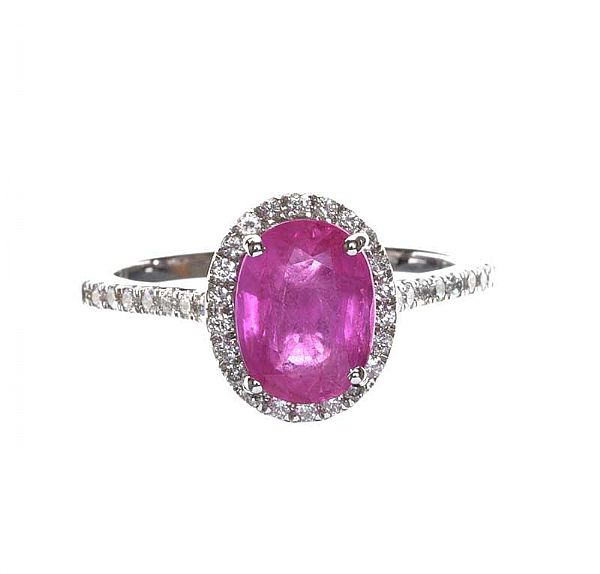 18CT WHITE GOLD PINK SAPPHIRE AND DIAMOND RING at Ross's Online Art Auctions