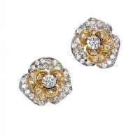 18CT WHITE GOLD DIAMOND FLORAL EARRINGS at Ross's Auctions