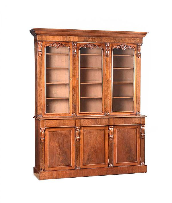 VICTORIAN MAHOGANY THREE DOOR BOOKCASE at Ross's Online Art Auctions