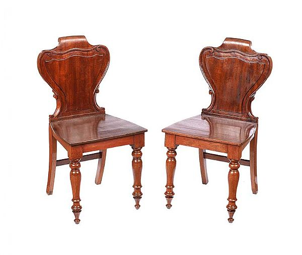 PAIR OF VICTORIAN MAHOGANY HALL CHAIRS at Ross's Online Art Auctions