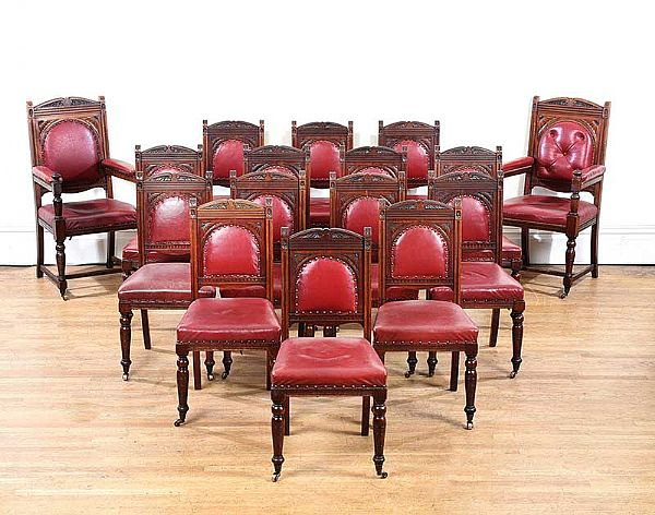 SET OF SIXTEEN VICTORIAN DINING ROOM CHAIRS at Ross's Online Art Auctions