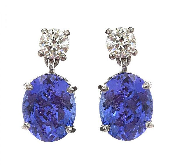 18CT WHTIE GOLD TANZANITE AND DIAMOND EARRINGS at Ross's Online Art Auctions