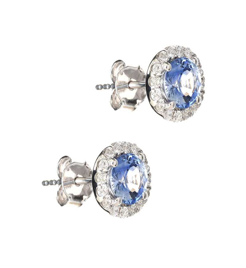 18CT WHITE GOLD SAPPHIRE AND DIAMOND EARRINGS at Ross's Online Art Auctions