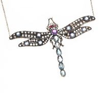 18CT GOLD AND SIVER-SET MULTI-GEM DRAGONFLY NECKLACE at Ross's Auctions