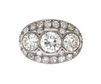 ART DECO PLATINUM THREE STONE CLUSTER RING at Ross's Jewellery Auctions