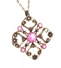 EDWARDIAN 9CT GOLD PINK STONE AND SEED PEARL PENDANT at Ross's Auctions