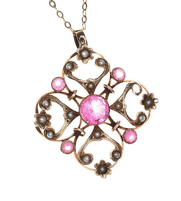 EDWARDIAN 9CT GOLD PINK STONE AND SEED PEARL PENDANT at Ross's Online Art Auctions
