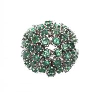 18CT WHITE GOLD EMERALD BOMBE RING at Ross's Jewellery Auctions