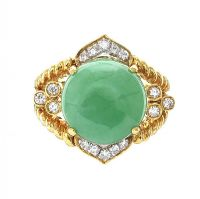 18CT GOLD JADE AND DIAMOND RING at Ross's Jewellery Auctions