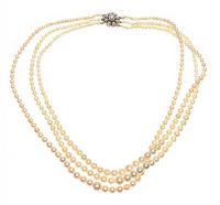 TRIPLE STRAND OF CULTURED PEARLS WITH 9CT GOLD CLASP at Ross's Jewellery Auctions