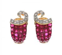 18CT GOLD RUBY AND DIAMOND EARRINGS at Ross's Auctions