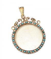VICTORIAN 9CT GOLD PEARL AND TURQUOISE PENDANT at Ross's Jewellery Auctions