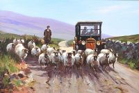 DRIVING SHEEP IN THE GLENS by Donal McNaughton at Ross's Auctions
