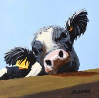 COW ON BLUE by Ronald Keefer at Ross's Auctions