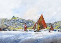 GALWAY HOOKERS AT INISHEER, COUNTY GALWAY by Niall Campion at Ross's Auctions