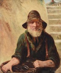 THE EEL FISHERMAN by David W. Haddon RBA at Ross's Auctions