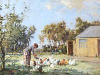 FEEDING CHICKENS IN THE GLENS by Frank McKelvey RHA RUA at Ross's Auctions