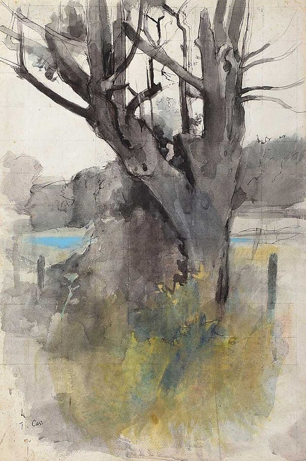 TREE IN A LANDSCAPE by Tom Carr HRHA RUA RWS at Ross's Online Art Auctions