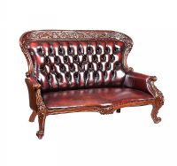 DEEP BUTTONED LEATHER SETTEE at Ross's Auctions