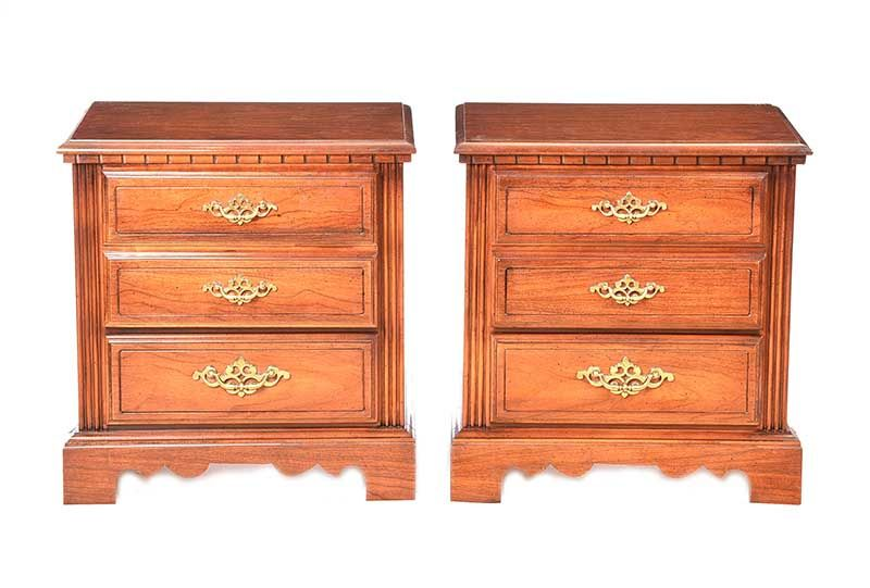 PAIR OF WALNUT TWO DRAWER BEDSIDE PEDESTALS at Ross's Online Art Auctions