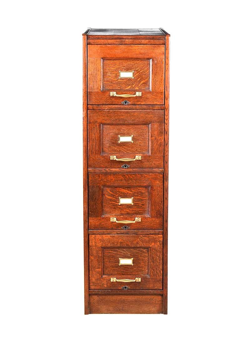 ANTIQUE OAK FILING CABINET at Ross's Online Art Auctions