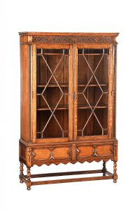 ANTIQUE OAK TWO DOOR BOOKCASE at Ross's Auctions