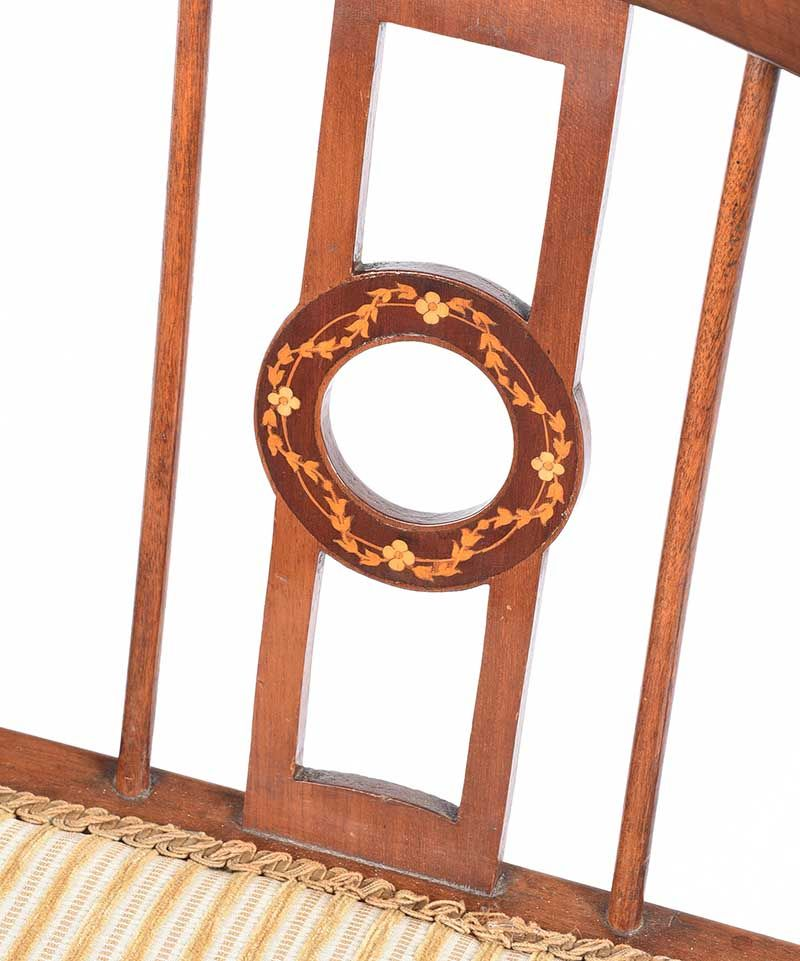EDWARDIAN INLAID MAHOGANY CORNER CHAIR at Ross's Online Art Auctions