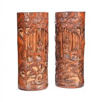 PAIR OF CARVED CHINESE BRUSH POTS at Ross's Auctions