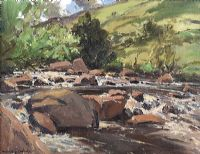 SUNLIT RIVER, GELNDUN, COUNTY ANTRIM by Maurice Canning  Wilks ARHA RUA at Ross's Auctions