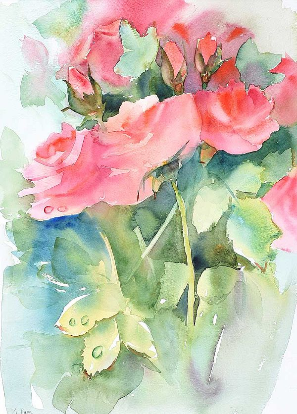 STILL LIFE, ROSES by Tom Carr HRHA RUA RWS at Ross's Online Art Auctions