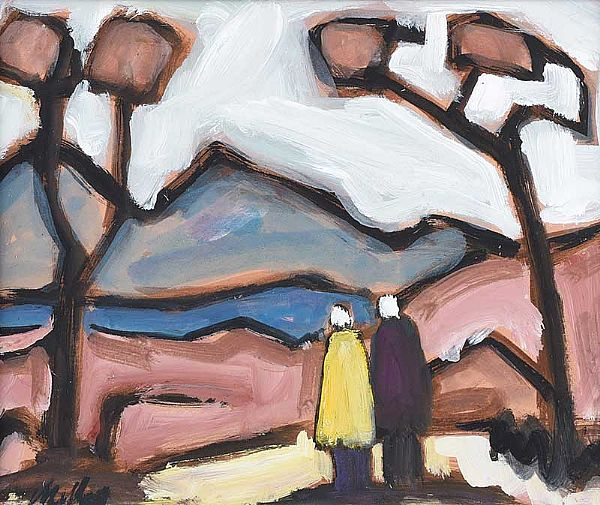 COUPLE BY THE TREES by Markey Robinson at Ross's Online Art Auctions