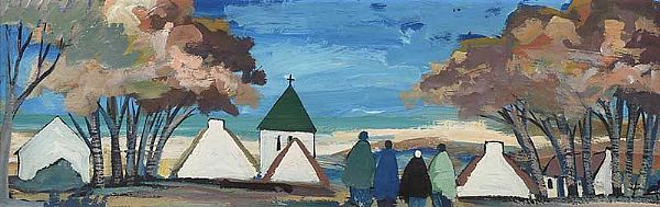 THE VILLAGE CHURCH by Markey Robinson at Ross's Online Art Auctions