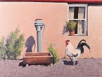 COCKEREL BY THE WATER PUMP by Gregory Moore at Ross's Auctions