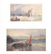 STORMY WEATHER & QUIET MOORINGS by Edwin Hayes RHA RI ROI at Ross's Auctions