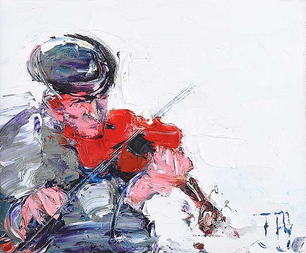 SOLO FIDDLER by J.B. Vallely at Ross's Online Art Auctions
