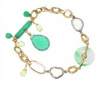 18CT GOLD QUARTZ, JADE, DIAMOND AND PERIDOT BRACELET at Ross's Jewellery Auctions