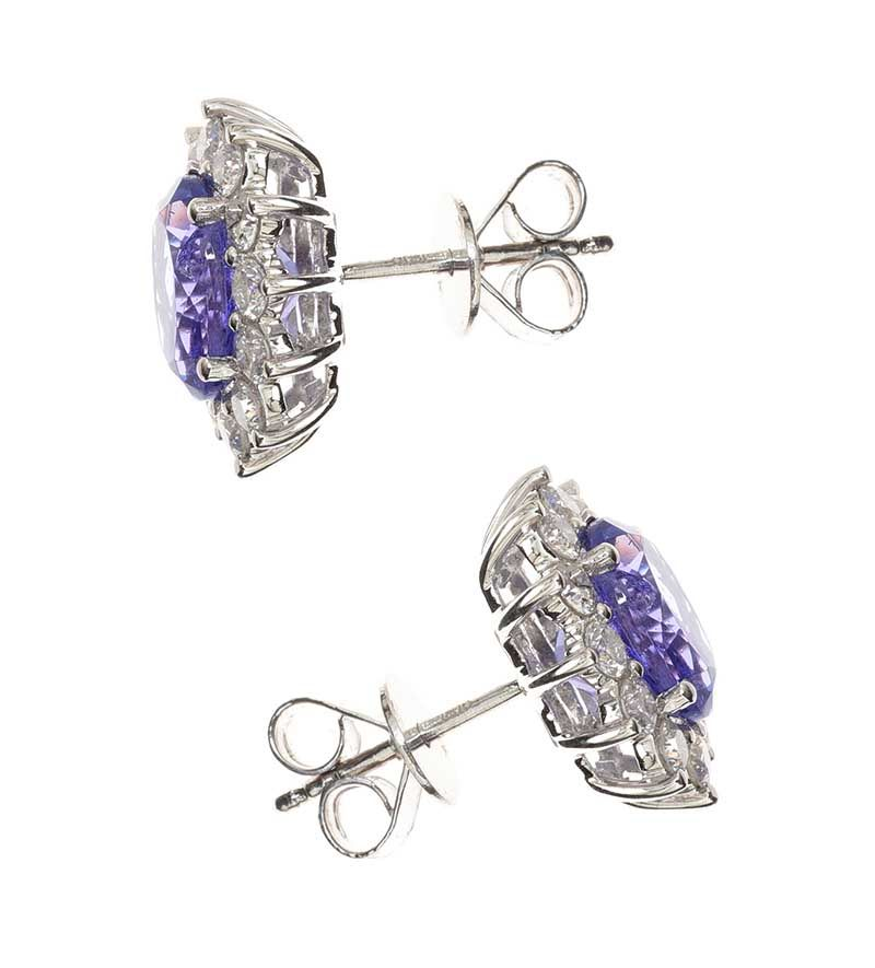 18CT WHITE GOLD TANZANITE AND DIAMOND EARRINGS at Ross's Online Art Auctions