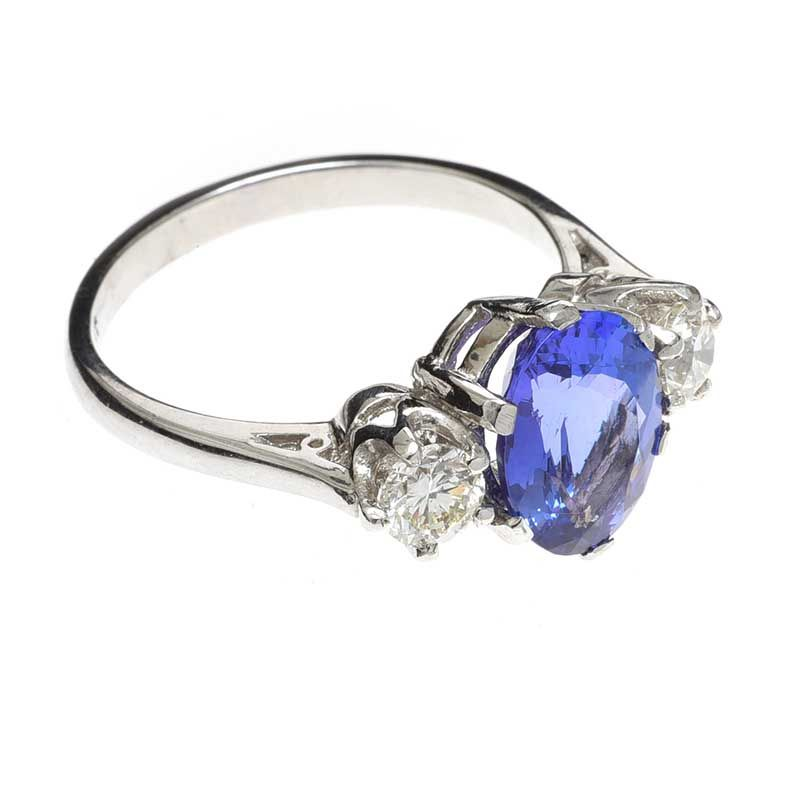 PLATINUM TANZANITE AND DIAMOND RING at Ross's Online Art Auctions