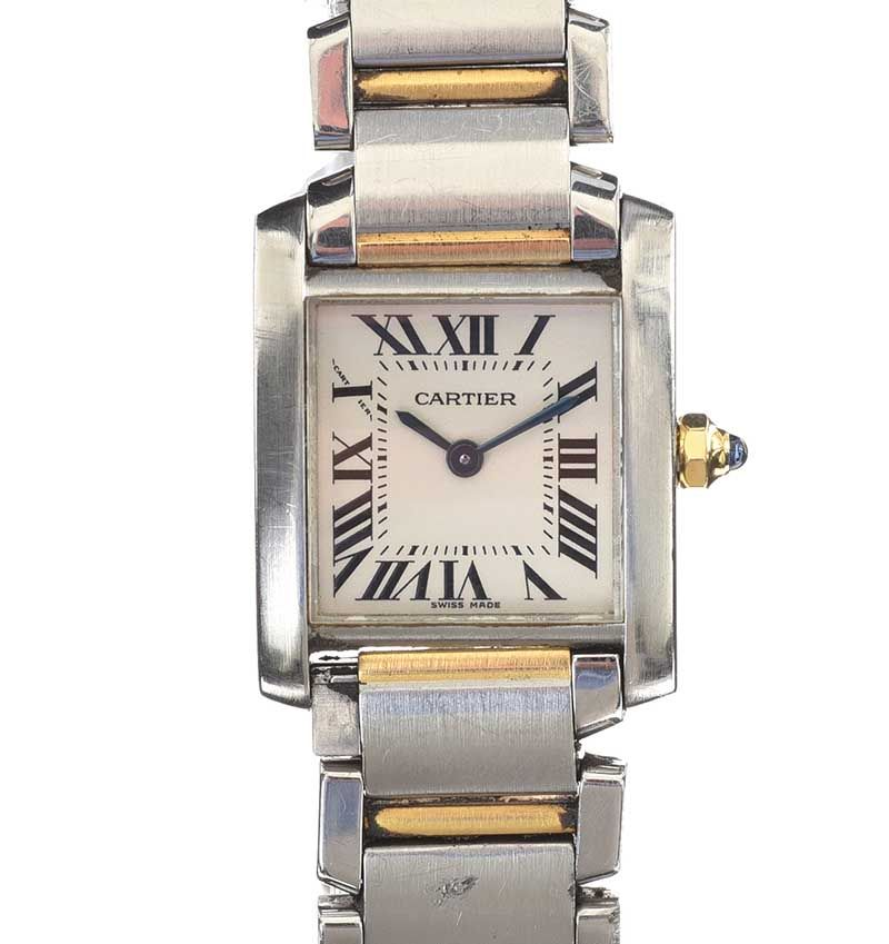 CARTIER STAINLESS STEEL WRIST WATCH at Ross's Online Art Auctions