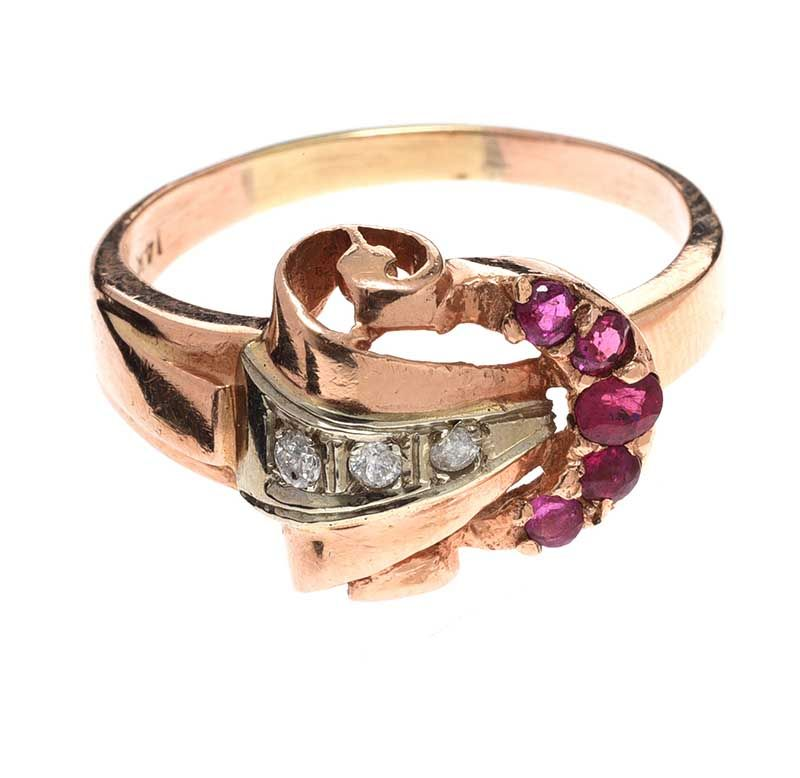 FRENCH 14CT ROSE GOLD RUBY AND DIAMOND RING at Ross's Online Art Auctions