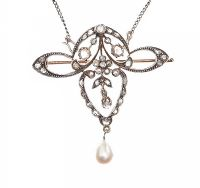 ART NOUVEAU GOLD AND SILVER DIAMOND AND PEARL NECKLACE at Ross's Jewellery Auctions