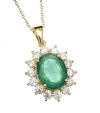 18CT GOLD EMERALD AND DIAMOND NECKLACE at Ross's Auctions