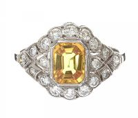 PLATINUM YELLOW SAPPHIRE AND DIAMOND RING at Ross's Auctions